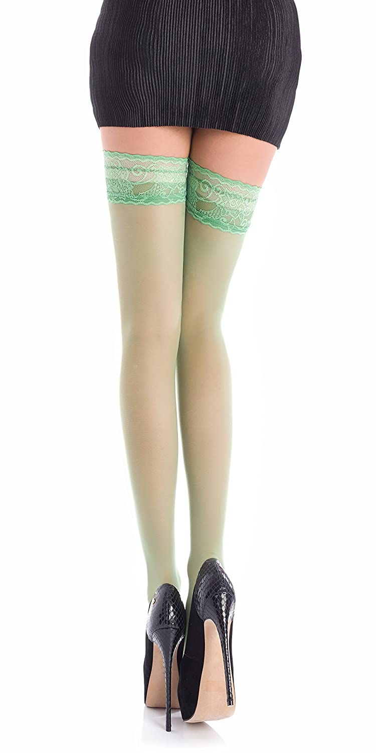 2026ee2010e Sheer 20 DEN Elastane Hold Ups Stockings with Lace by Romartex