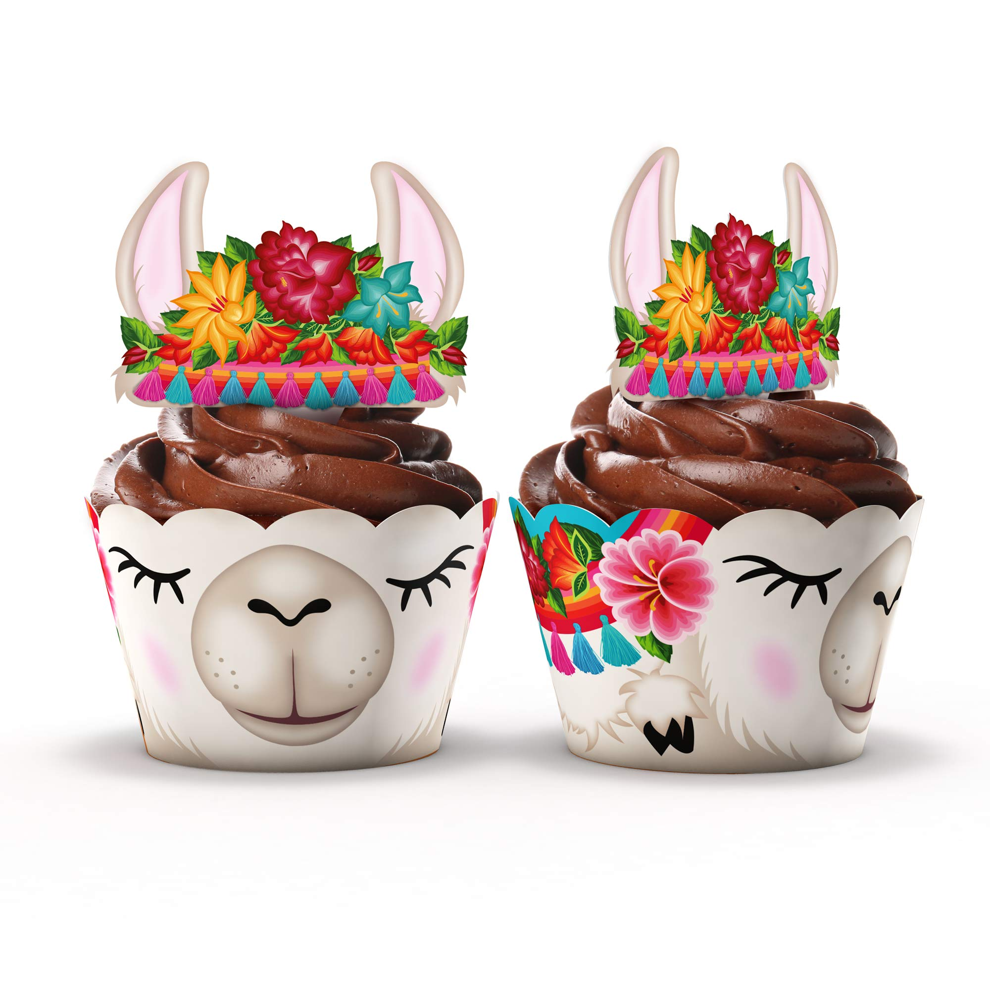 Llama Party Supplies Cupcake Toppers and Wrappers - Set of 24 - Fiesta party supplies (Llama) by Funky Fledgling