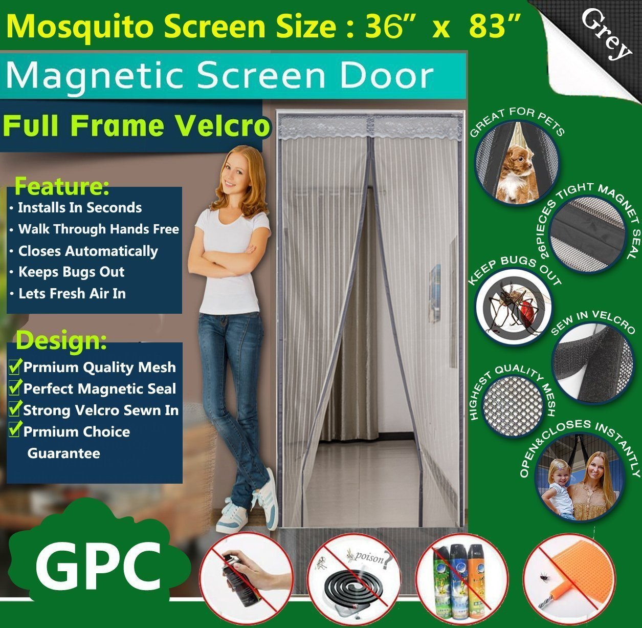 Queen Rose Magnetic Fly Screen Door Net - Full Frame Design, Fits Door Up To 34' x 82'(Gray) Fits Door Up To 34 x 82( Gray)