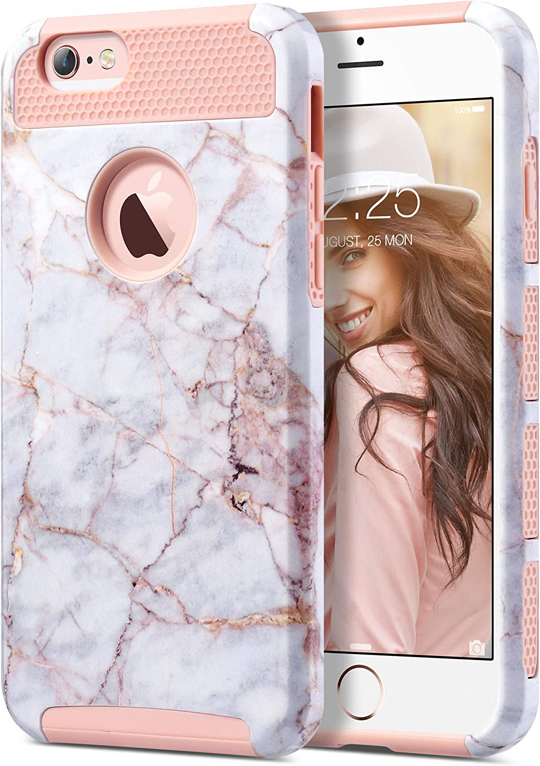 ULAK iPhone 6s Case, iPhone 6 Case, Colorful Series Slim Hybrid Dual Layer Scratch Resistant Back Cover Shock Absorbent TPU Bumper Case for Apple iPhone 6 6s 4.8 inch, Pink Marble