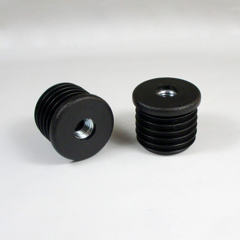 Negro Tap/ón roscado de pl/ástico negro para tubo redondo