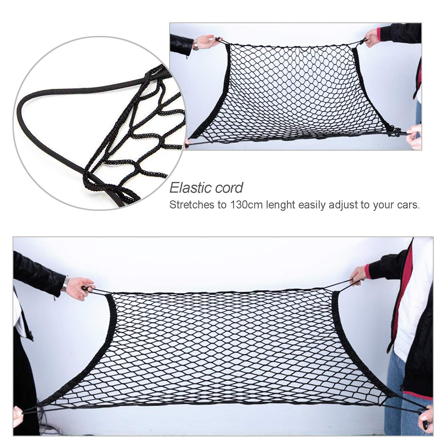 Tusenpy Car Trunk Net with 4 Hooks Flexible Elastic Nylon Rear Cargo Storage Organizer for Most Types of Cars Cargo Baggage Fixed Net 100 * 100cm