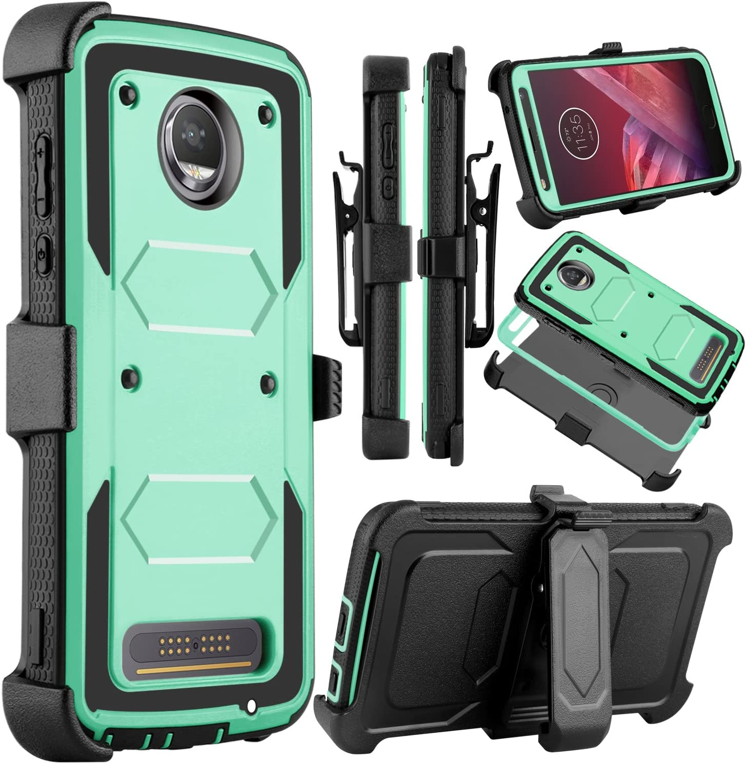 Venoro Moto Z2 Force Case, Moto Z2 Play Case, Heavy Duty Shockproof Full Body Protection Rugged Hybrid Case Cover with Swivel Belt Clip and Kickstand for Motorola Z Force 2017 (Natural)