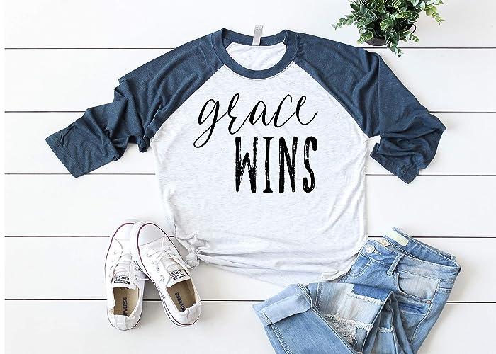 51e702816 Grace Wins, Baseball Raglan Shirt, Christian Faith, Faith Baseball Tee,  Raglan Shirt, Women's Tee, Spiritual Shirt, Inspirational Shirt, Ladies  Clothing