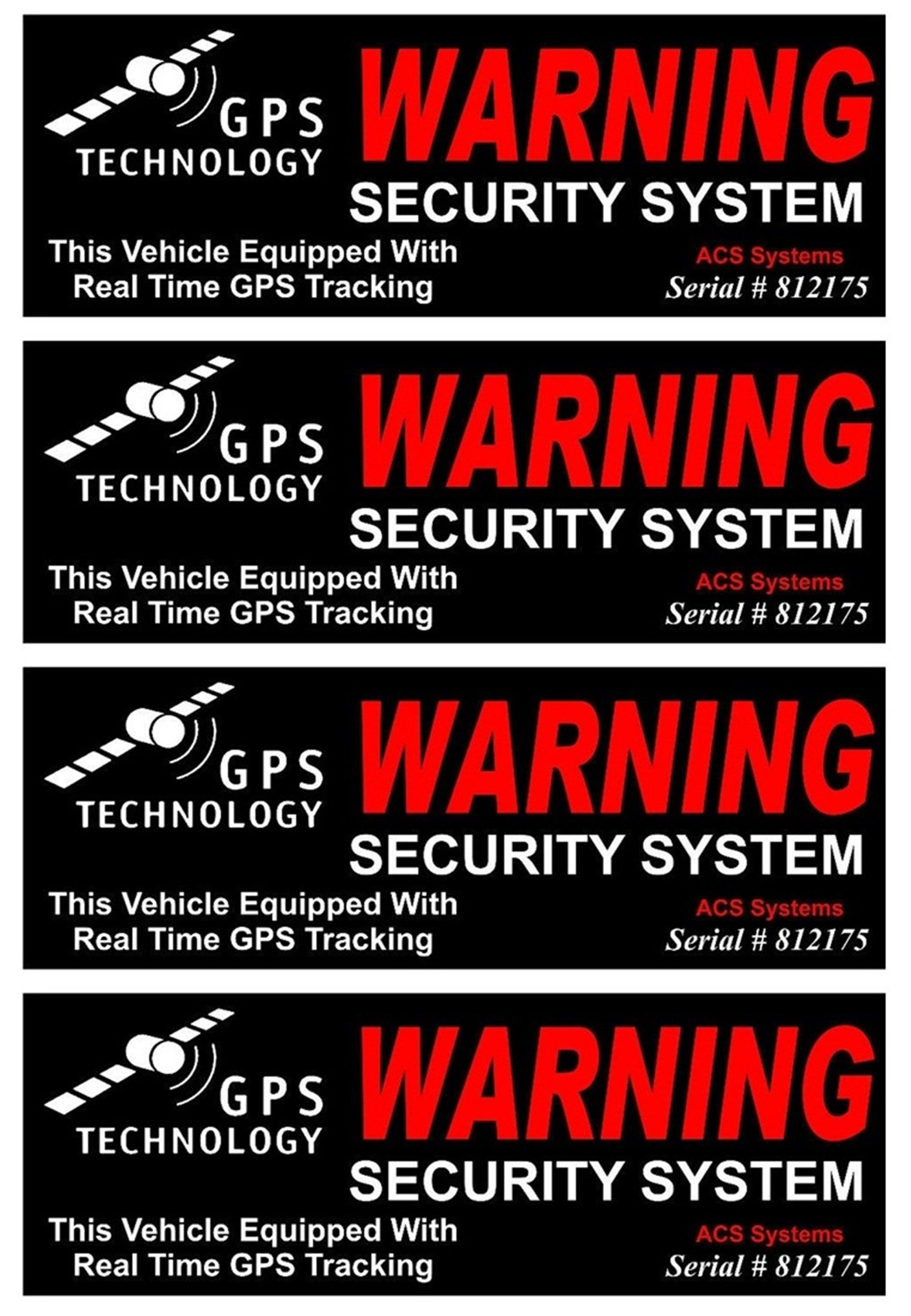 4Set Reliable Unique Warning GPS Tracking Security System Technology This Vehicle Equipped with Real Time Outside Adhesive Stickers Sign CCTV Reflective Protected House Window Premises Size 4.5''x1.5''