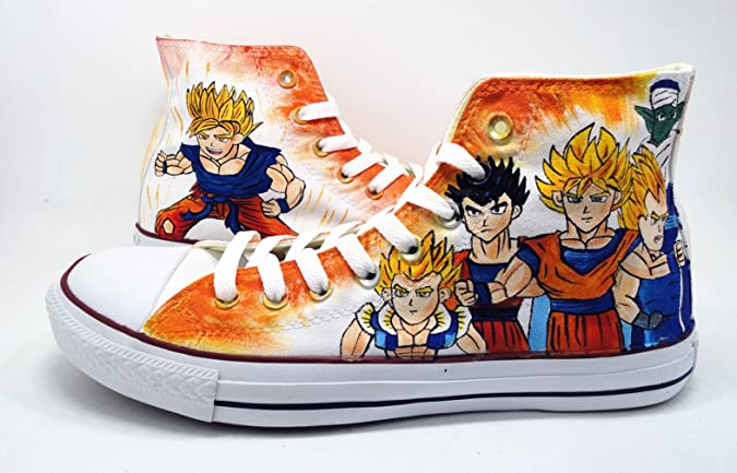 Amazon.com | Custom Dragon Ball Z Anime Cosplay Unisex Adult Lace-up High Top White Fashion Sneakers Canvas Shoes | Fashion Sneakers
