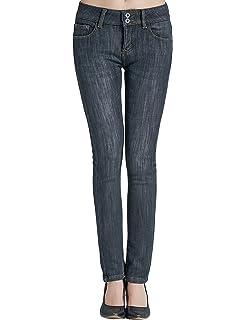 SSLR Jeans Recto para Invierno Forrado de Franela para ...