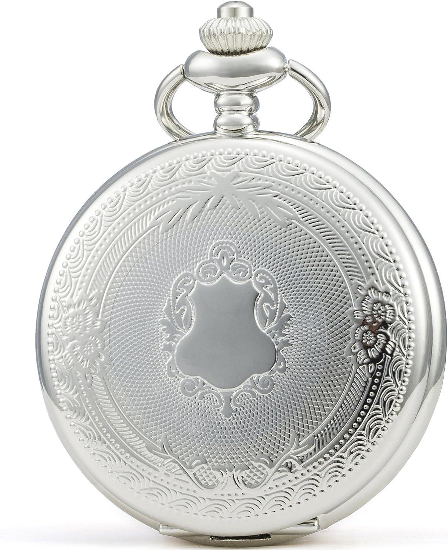 SEWOR - Reloj de Bolsillo clásico, Acabado Liso, Movimiento mecanizado a Mano, Viene en Caja de Regalo de Piel
