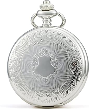 SEWOR - Reloj de Bolsillo clásico, Acabado Liso, Movimiento mecanizado a Mano, Viene en Caja de Regalo de Piel (Blanco): Amazon.es: Relojes