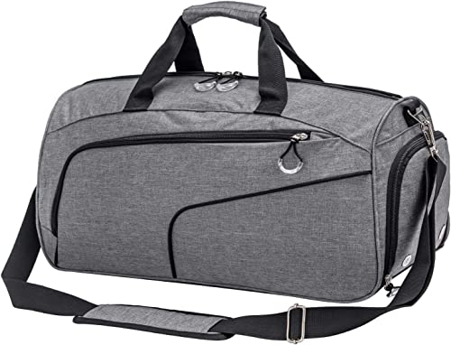 Kuston Sports Gym Bag with Shoes Compartment Wet Pocket Gym Duffel Bag Overnight Bag for Men and Women