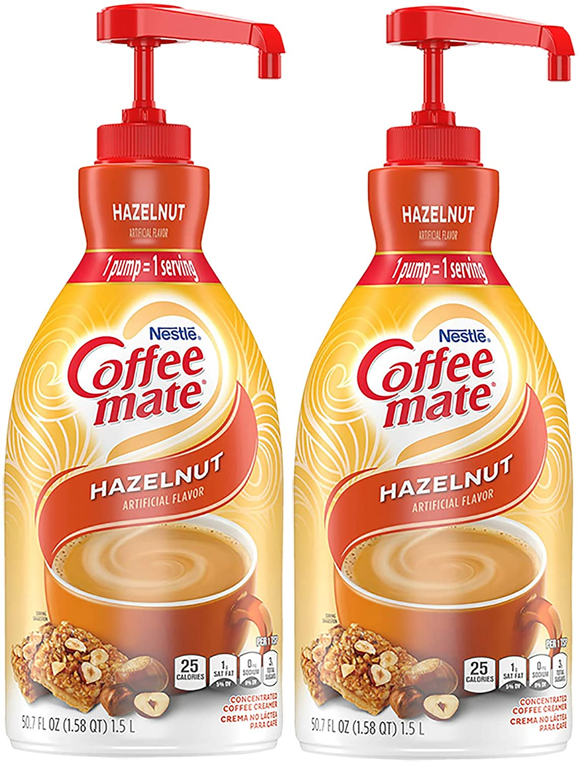 Nestle Coffee Mate Coffee Creamer Hazelnut Concentrated Liquid Pump Bottle Non Dairy No Refrigeration 50 7 Fl Oz Pack Of 2 Amazon Com Grocery Gourmet Food