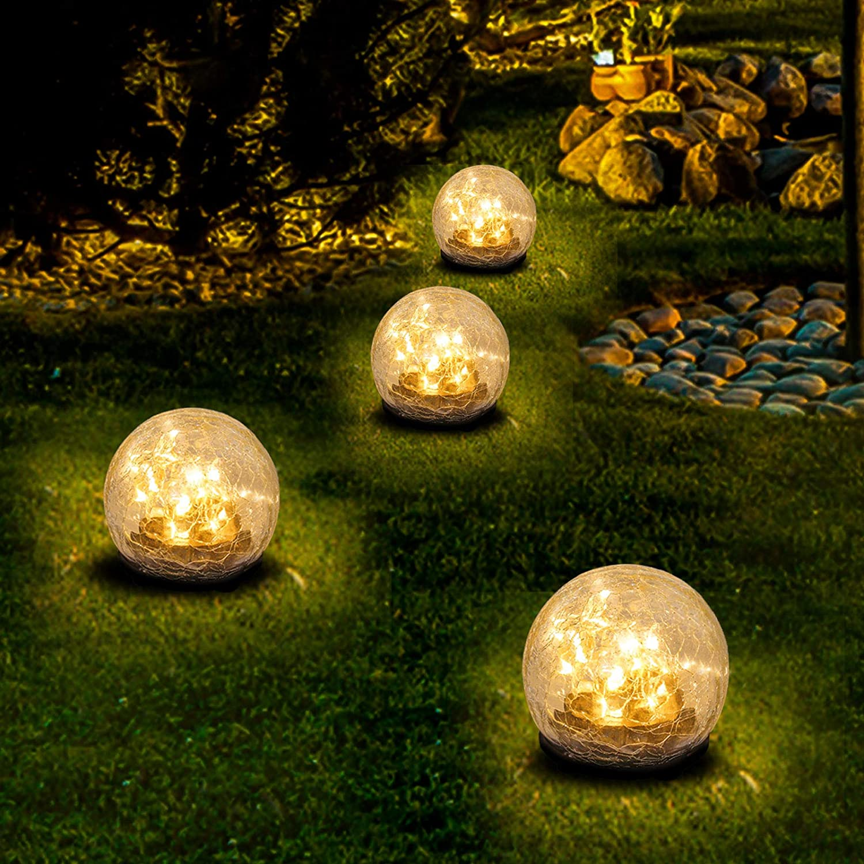 "HEDAQI Solar Garden Lights Cracked Glass Globe Ball Waterproof Warm White LED for Garden Decor Light,Outdoor Pathway,Lawn Yard Ornaments (1 Pack,3.94"")"