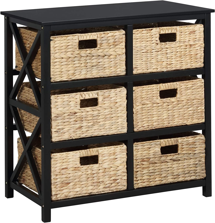 eHemco 3 Tier X-Side Storage Cabinet with 6 Baskets, Black