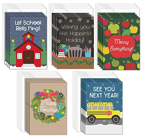Christmas Cards For Teachers.Teacher Christmas Cards 20 Pack Teacher Holiday Greeting Cards 5 Designs School Christmas Greeting Card Bulk Set Envelopes Included 4 25 X 6