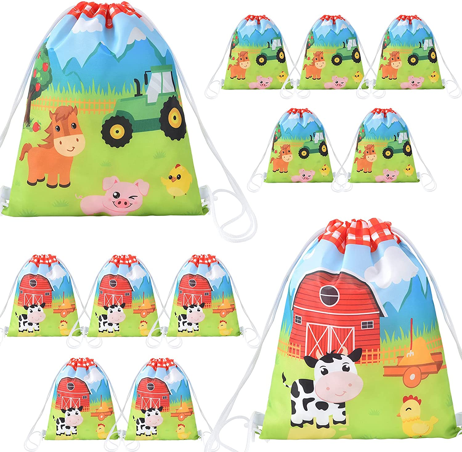 Farm String Bags - 12 Pack 10'' x 12'' Farm Animal Party Favor Gifts Bag for Kids Children Drawstring Pouches Wrap Goodie Bags Party Supplies for Birthday Christmas Travel Gym Beach