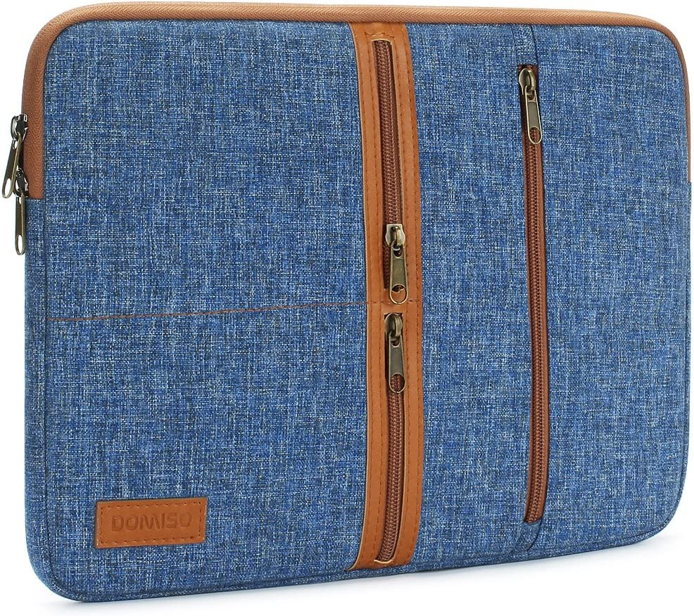 DOMISO 14 Inch Laptop Sleeve Canvas Notebook with Zipper Tablet Pouch Cover 3 Layer Protection Bag 3 Pockets Case for 12