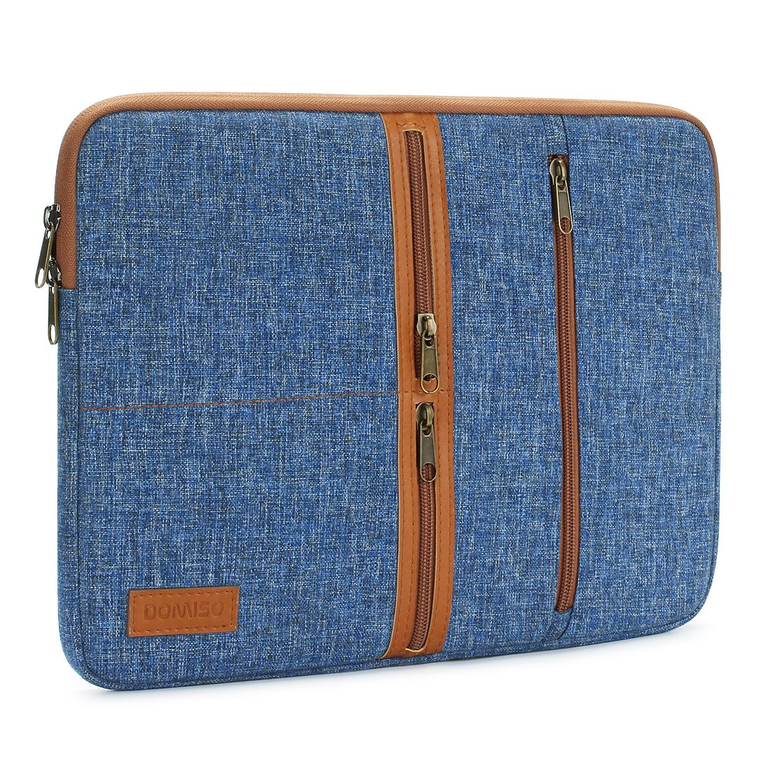 "DOMISO 10 Inch Laptop Sleeve Canvas Notebook with Zipper Tablet Pouch Cover 3 Layer Protection Bag 2 Pockets Case for 12"" MacBook 3 / 10.8"" Microsoft Surface 3, Blue"