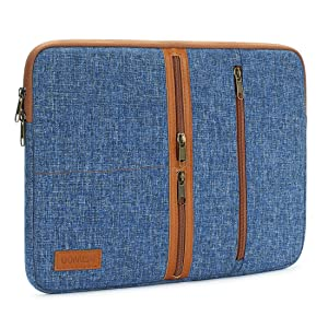 """DOMISO 10 Inch Laptop Sleeve Canvas Notebook with Zipper Tablet Pouch Cover 3 Layer Protection Bag 2 Pockets Case for 12"""" MacBook 3 / 10.8"""" Microsoft Surface 3, Blue"""