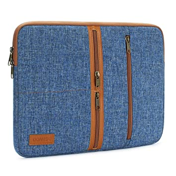 domisoeinfachen estilo funda para laptop bolsillos Business ordenador portátil Sleeve Laptop funda Sleeve Carcasa Funda azul 14 Inches