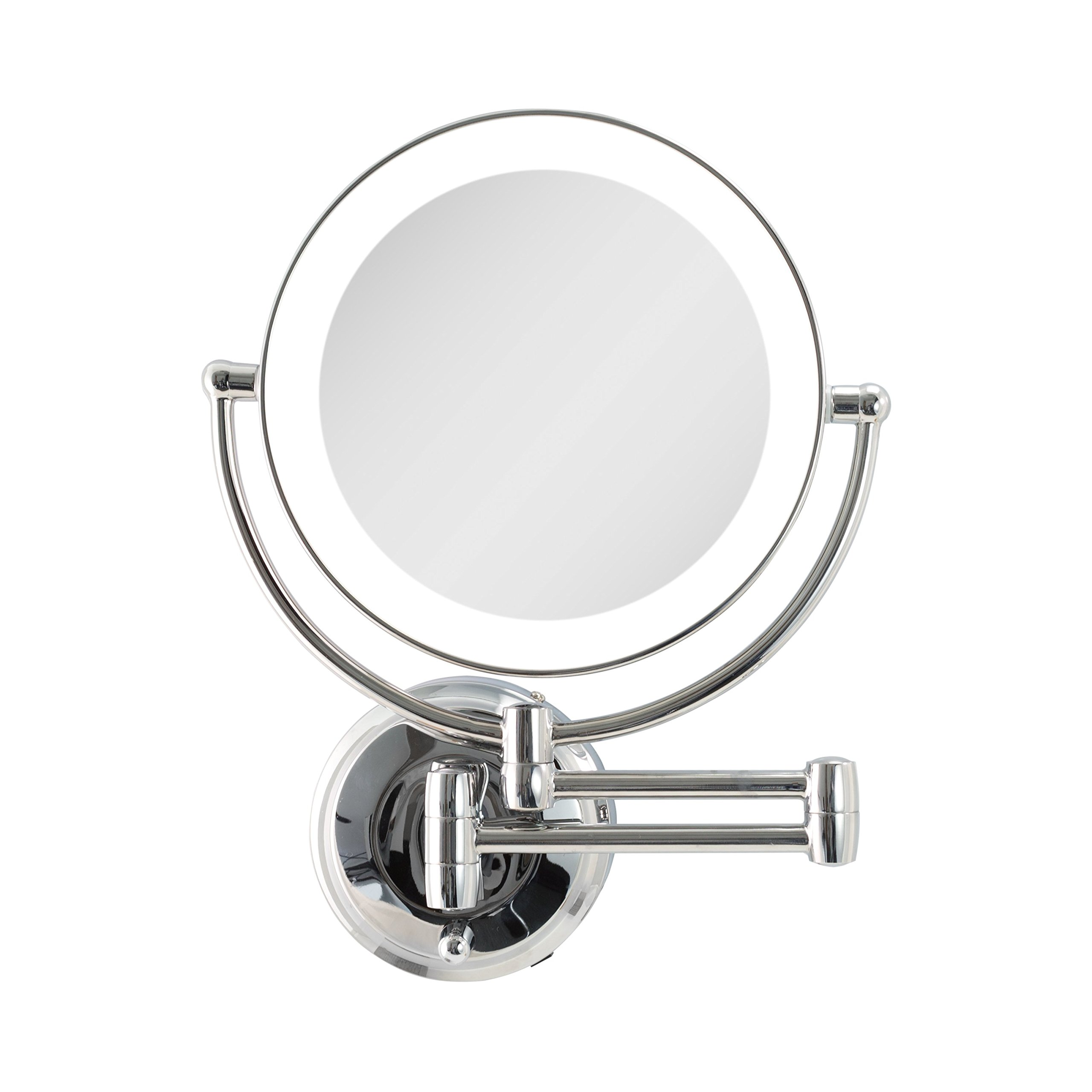 Zadro Cordless Dual LED Lighted Round Wall Mount Make Up Mirror with 1X & 10X magnification in Chrome Finish.