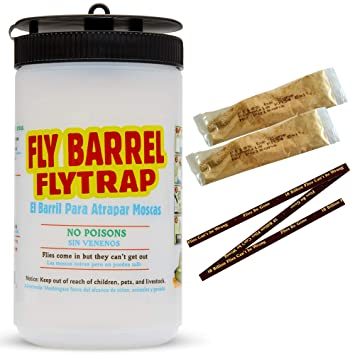 Flies Be Gone Barrel Fly Trap(2 Pack) – Reusable Outdoor Flycatcher – Sturdy