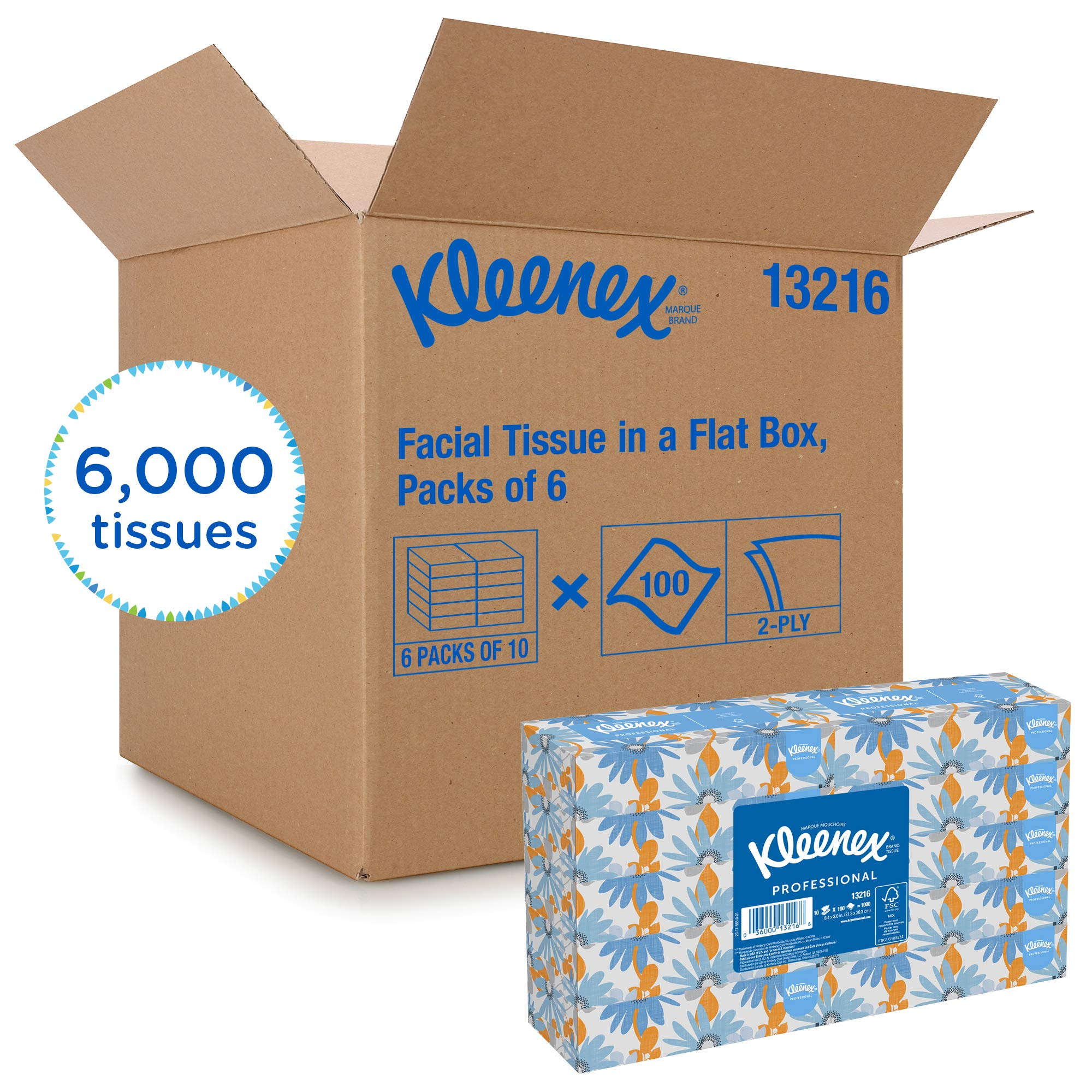 Kleenex Professional Facial Tissue for Business (13216), Flat Tissue Boxes, 60 Boxes/Case, 100 Tissues/Box by Kimberly-Clark Professional