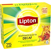 Lipton Tea Bags For a Delicious Beverage Decaffeinated Black Tea Caffeine-Free and Made With Real Tea Leaves 75 Tea Bags…