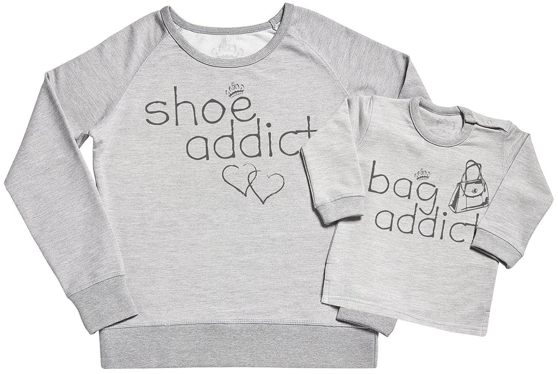 SR Mummy Gift Shoe Addict /& Bag Addict Womens Sweater Gift for Mum /& Baby Sweater Gift Set