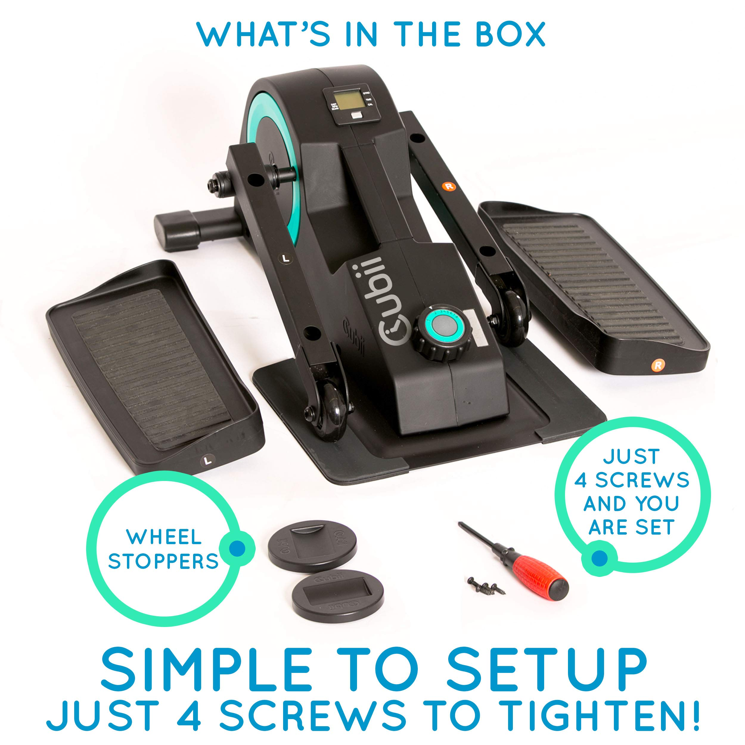 Cubii Jr: Desk Elliptical with Built in Display Monitor, Easy Assembly, Quiet & Compact, Adjustable Resistance (Turquoise) by Cubii (Image #9)
