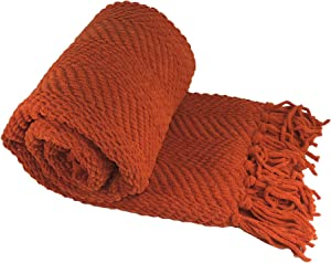 Home Soft Things Knitted Tweed Throw Couch Cover Blanket, 50 x 60, Rust