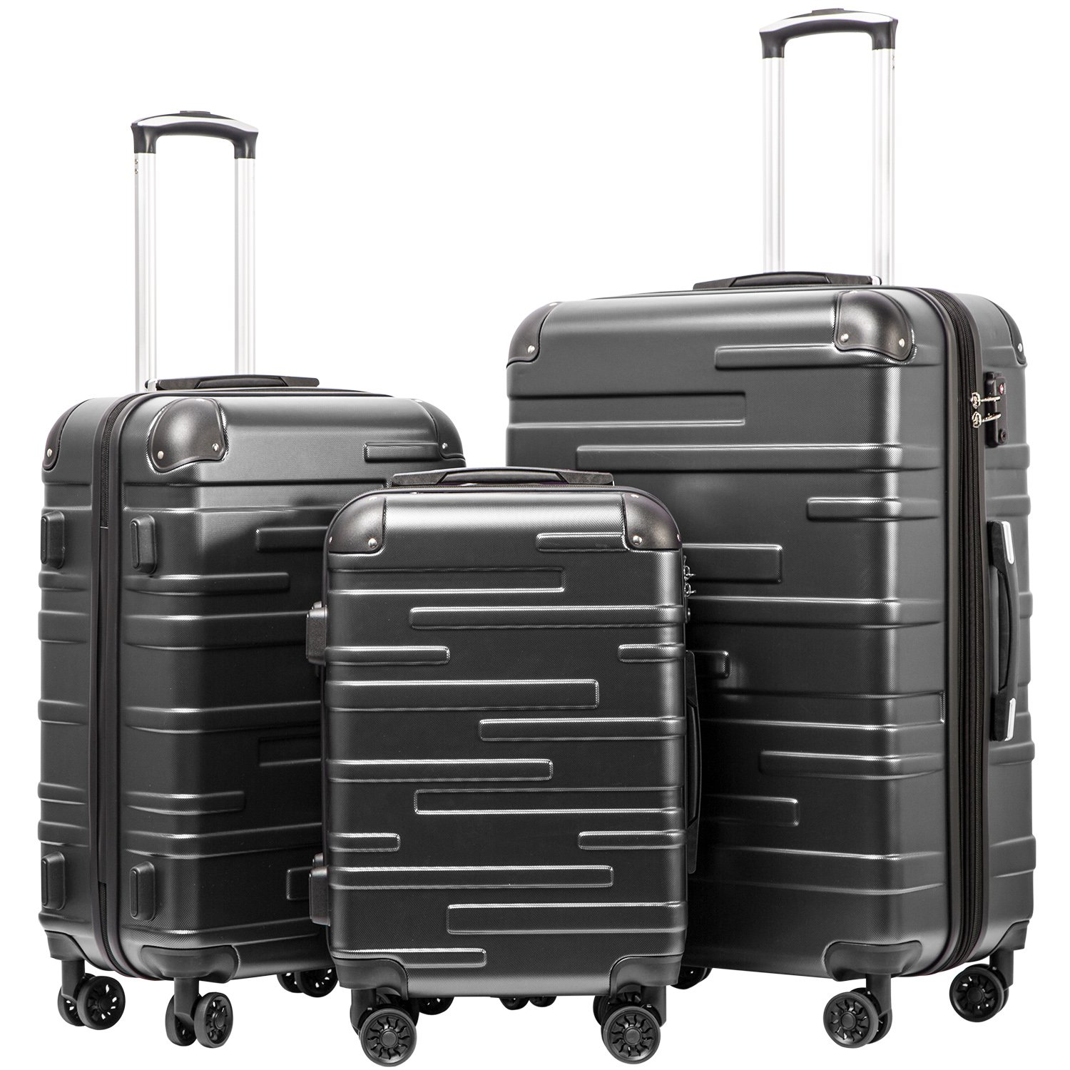 Coolife Luggage Expandable Suitcase 3 Piece Set with TSA Lock Spinner 20in24in28in (reg grey)