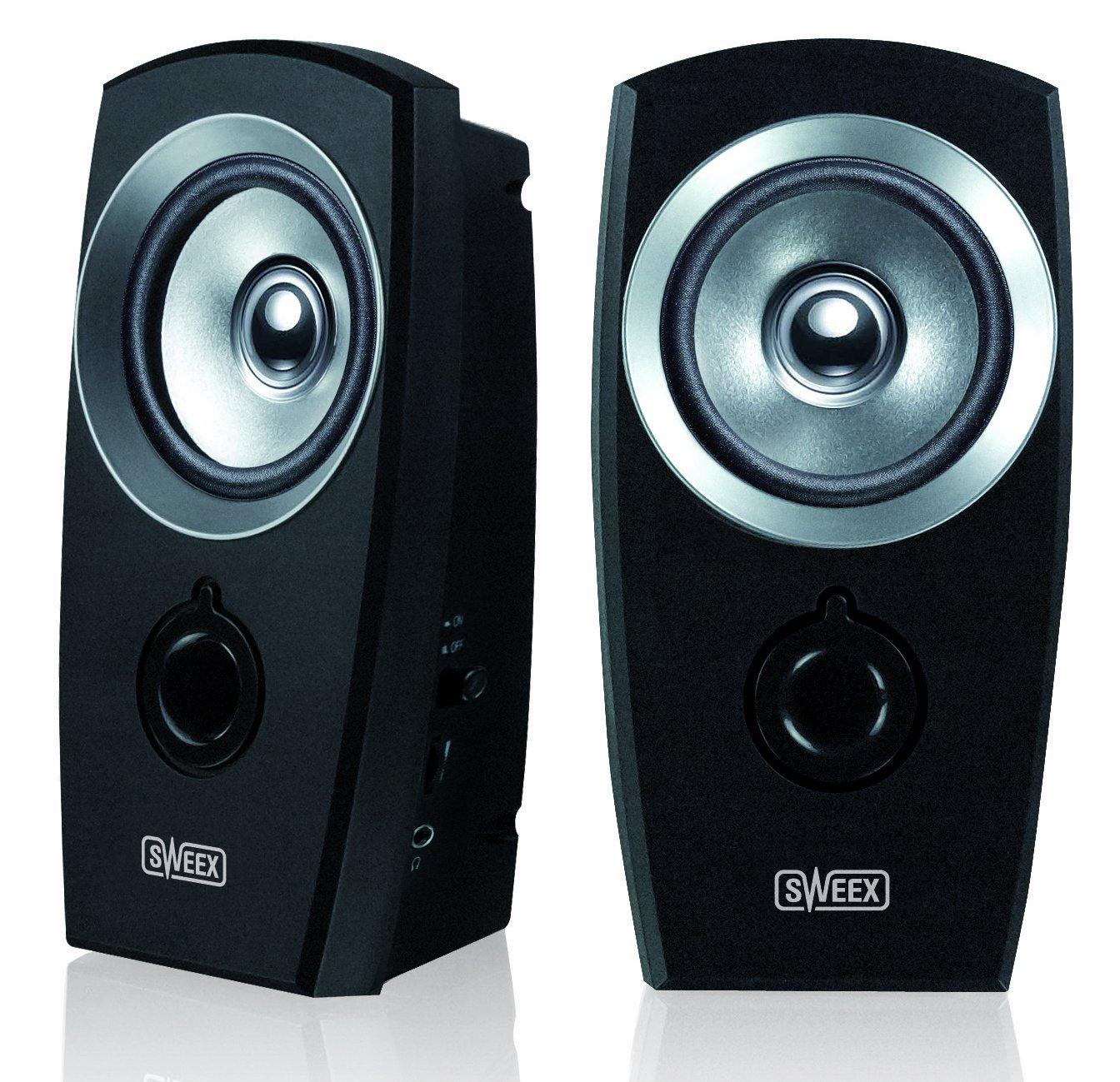 Sweex SP040 2.0 Lautsprecher (3,5mm Klinkenstecker, USB) schwarz/silber Step