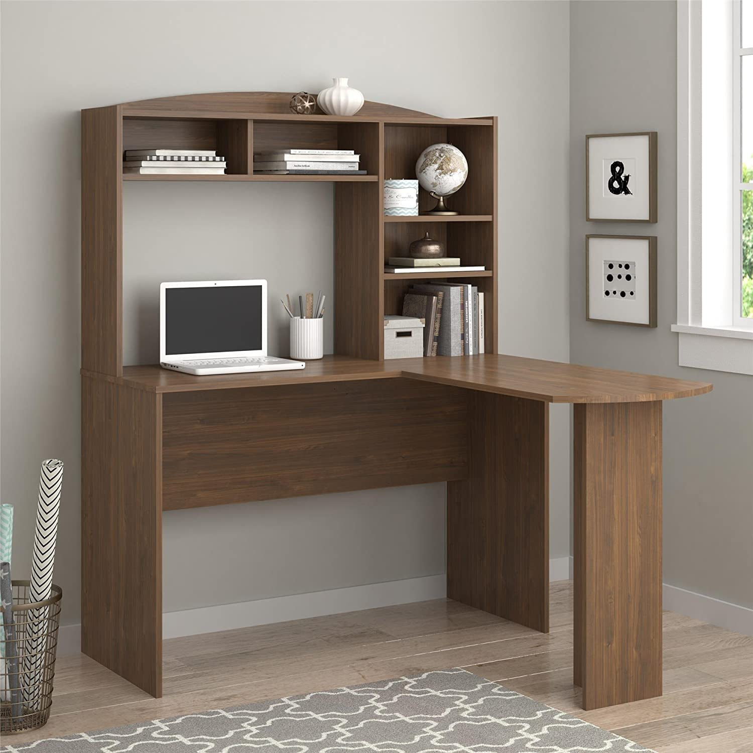 desk profile dp amazon oak bookcase kitchen office wood furniture workstation classic piece uk co computer home grain hutch