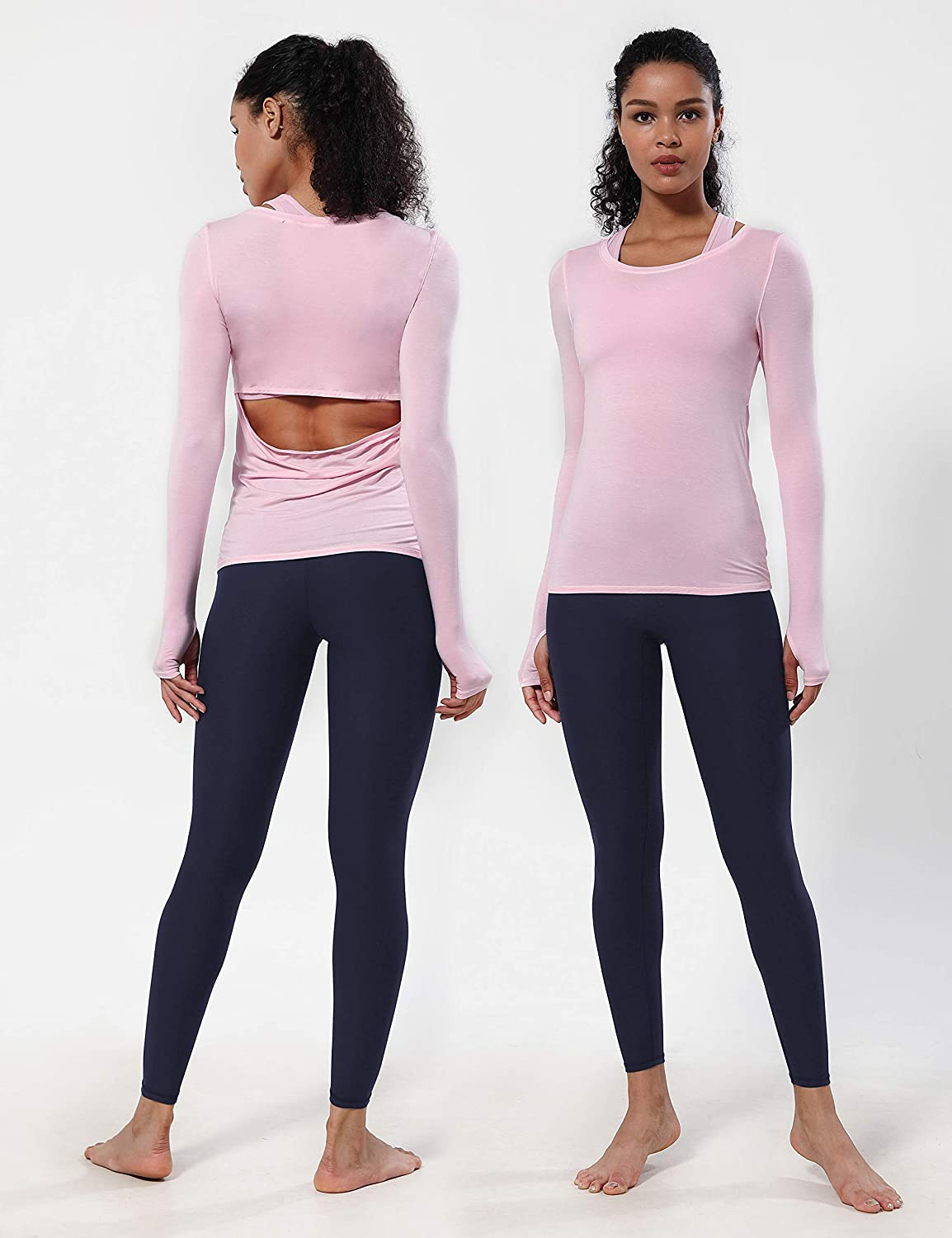 BUBBLELIME 4 Styles Petite//Tall Womens High Waist Yoga Leggings Over The Heel Soft Tummy Control Extra Long Workout Pants