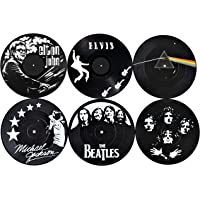 Our Casa Drink Coasters Mats | Retro Records Design of Music Legends | Bar Home Non-Slip Prevent Tabletop Damage Washable Set of 6 | Black and White Coaster Record Decor