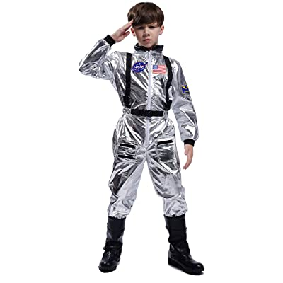 Maxim Party Supplies Kids Astronaut Space Suit Costume Cosplay Jumpsuit with Embroidered Patches and Pockets for Children: Clothing