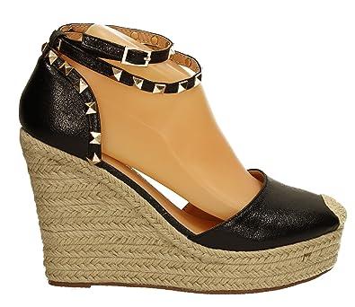 1ff506da5c26f6 SwankySwans Tess Womens Raffia Wedge Faux Leather Stud Ankl Heel Peep Toe Sandal  Ladies Black 37