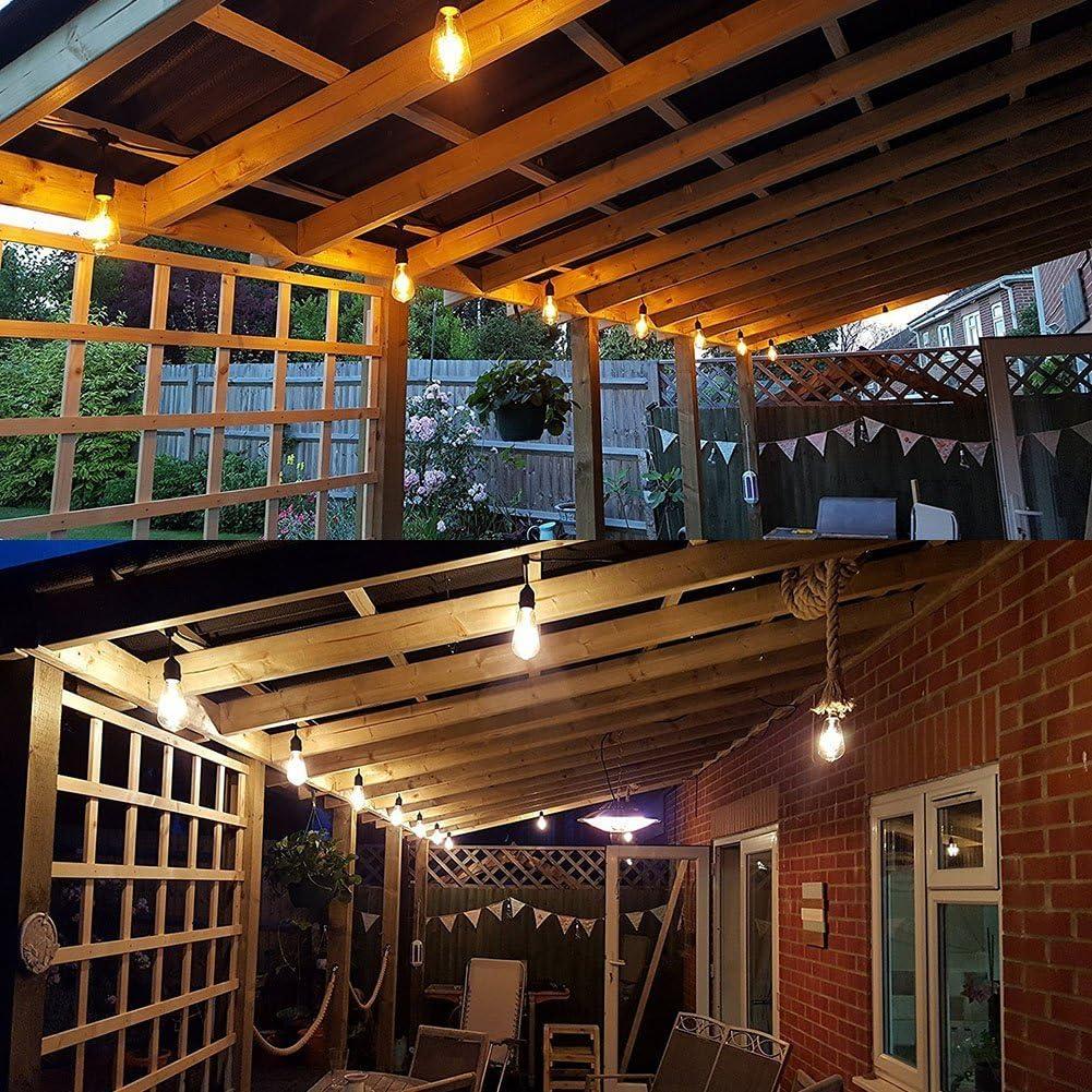 Guirnalda de luces LED resistente al agua comercial resistente jardín luz interior al aire libre se puede conectar Vintage Strand luz Set con E26 sockets (bombillas incluidas) (pies/10 tomas): Amazon.es: Iluminación