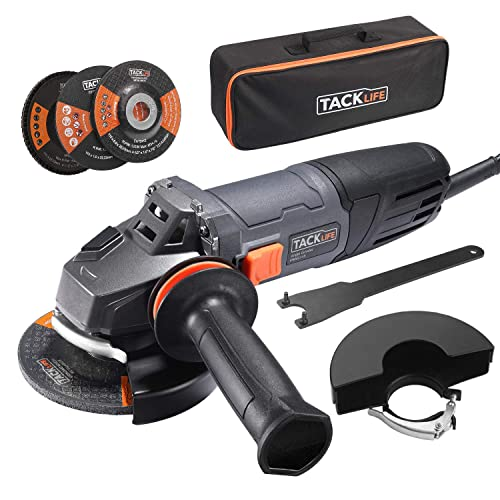TACKLIFE 8.5Amp Angle Grinder Tool, 4-1 2-Inch Angle Grinder 12000RPM, with Anti-Vibration Handle, 5 Accessories, 1 Storage Bag-P9AG115