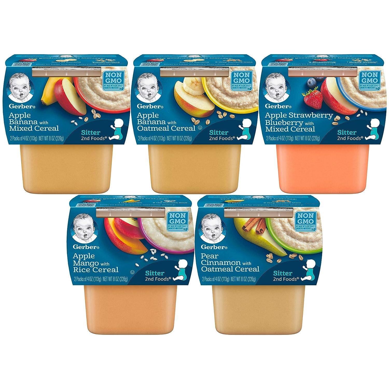 Gerber 2nd Foods Tubs Breakfast Cereal Variety Pack, 3 Pear Cinnamon Oatmeal, 3 Apple Banana Oatmeal, 3 Apple Banana Mixed, 3 Apple Mango Rice, 3 Apple Strawberry Blueberry, 15 CT
