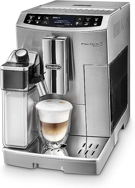 DeLonghi PrimaDonna S EVO - Cafetera Automática Controlable desde Smartphone, Espresso y Cappuccino, Pantalla LCD Táctil, Sistema Latte Crema, Limpieza Automática, ECAM 510.55.M, Plata: Amazon.es: Hogar