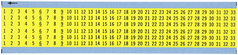 Pack of 25 Card Black on Yellow Consecutive Numbers Wire Marker Card Legend 8 thru 33 Legend 8 thru 33 Brady Worldwide Inc. B-500 Repositionable Vinyl Cloth Brady WM-1-33-YL-PK 1.5 Marker Length Pack of 25 Card