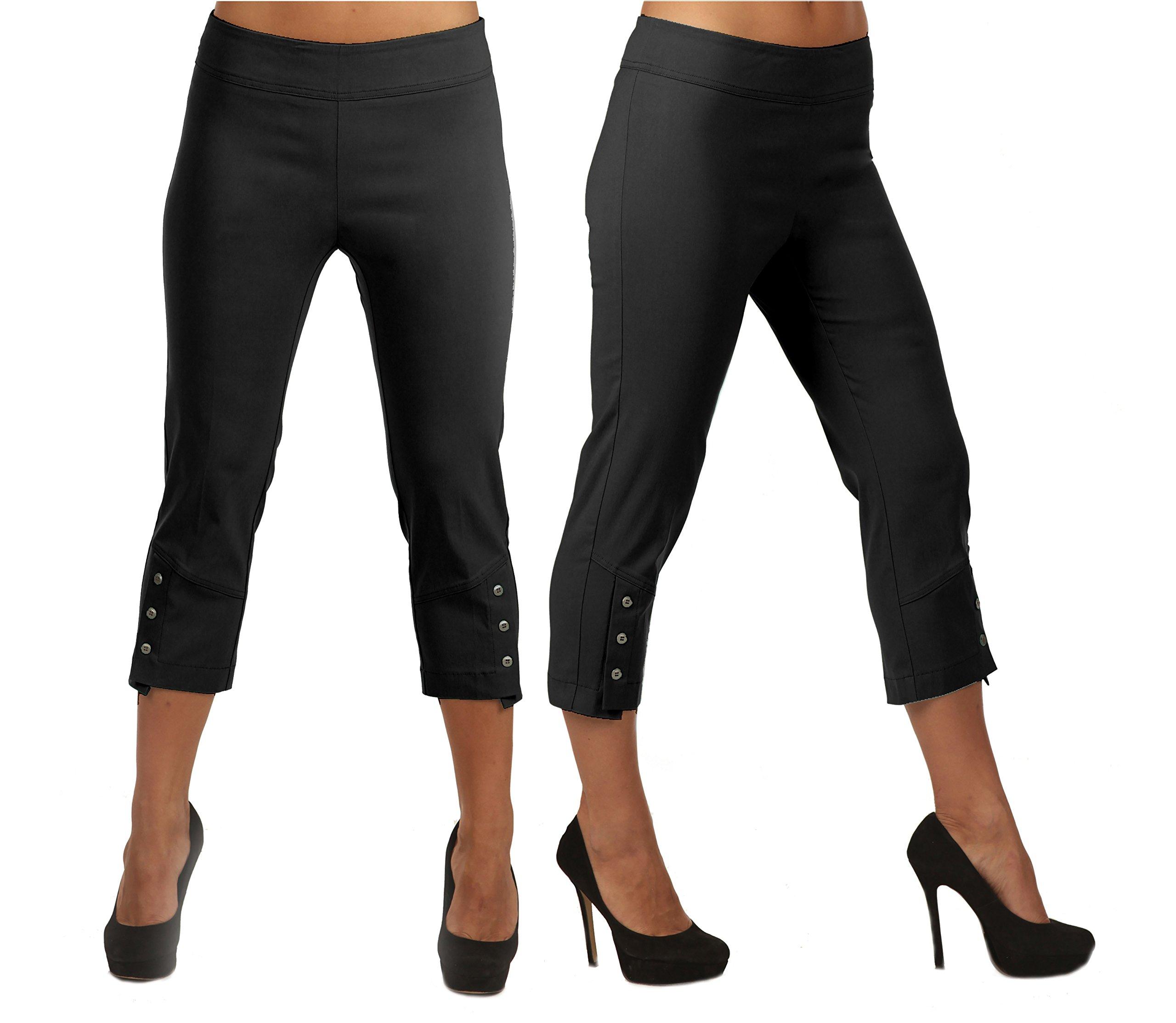 Lior Paris Leela Slim Fit Capri with Three Button Detail. (10,Black)