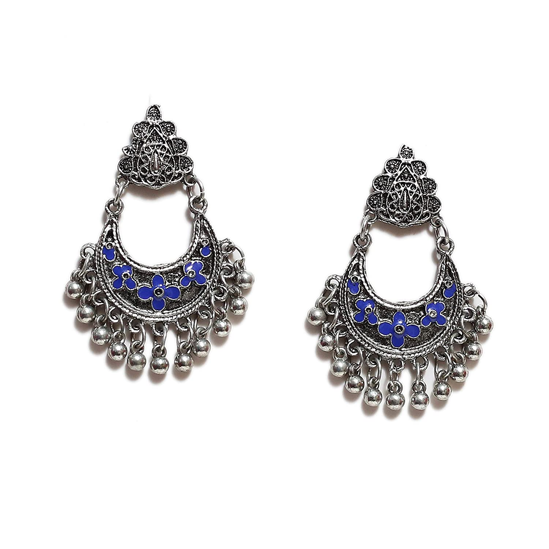 Fashion Handmade Bollywood Style Brocade Oxidized Afghani Tribal Drop Dangle Jhumka Jhumki Chandbali Indian Earrings