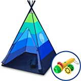 """USA Toyz Kids Teepee Tent - """"Happy Hut"""" Indoor Outdoor Teepee Tent for Kids w/ Safari Projector Light + EZ Pack Play Tent Tote for Kids Tent Travel (Blue)"""