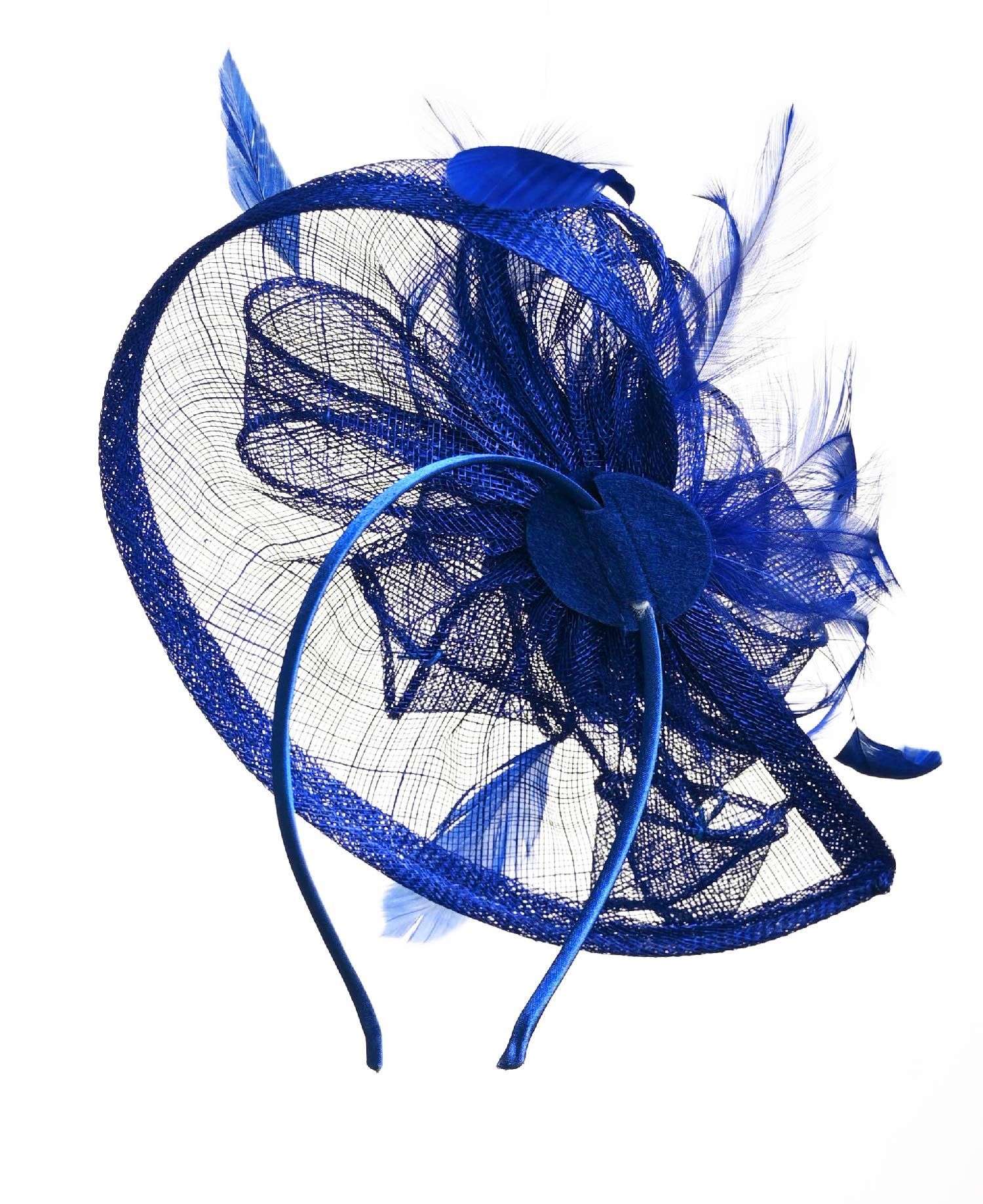 Fascinators Hat for Women Kentucky Derby Headband Wedding Mesh Feathers Tea Party Hair Clip (1-Royal) by Zivyes (Image #3)
