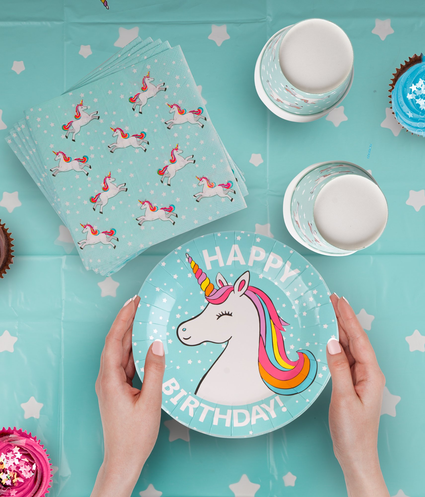 102 Piece Rainbow Unicorn Party Supplies Set Including Banner, Plates, Cups, Napkins, Straws, and Tablecloth, Serves 20 5