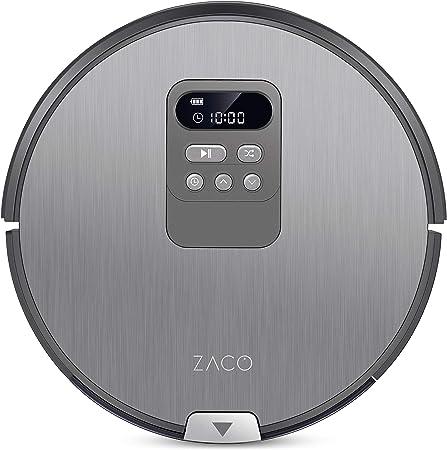 ZACO V80 Robot Aspirador piso de barrido y fregado con tanque de agua, 5 modos de limpieza, 22 W, 750 milliliters, 68 Decibelios, Plástico, gris plateado: Amazon.es: Hogar