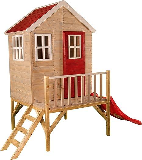 Niños casa de Juguete en Platform | Niños Madera Parte Jardín Casa con Ventanas, Escalera, tobogán, Puerta completa: Amazon.es: Jardín