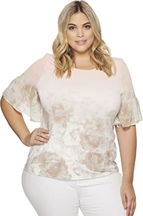 85bc5f8f1aed Calvin Klein Plus Women s Plus Size Short Sleeve Printed Top With gather  Nectar Latte Ombre 3X at Amazon Women s Clothing store